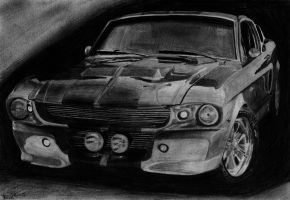 '67 Shelby GT500E Eleanor pencil drawing by xRINAGEx