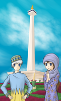 National Momnument in Indonesia by Dumdodoor