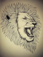 Roaring Lion Tattoo by InaAmani