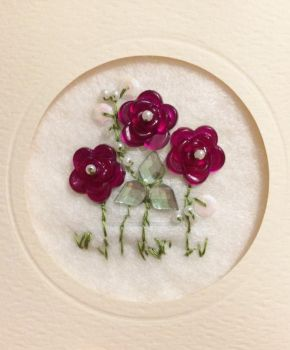 Embroidered card roses by elouisesmith