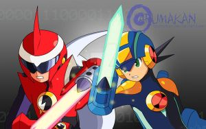 Rockman and Blues - Battle by Arumakan