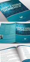 Baptism Sunday Church Bulletin Template by loswl