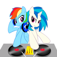 Rainbow Dash and DJ Pon-3 / Vinyl Scratch by RaynebowCrash