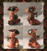 Little orange steampunk dragon by BittyBiteyOnes