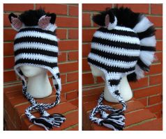 Zebra Mohawk Hat by TheCrochetDragon