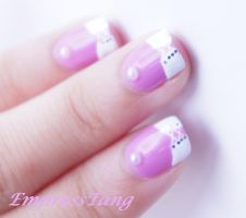 Pink and White Corset Nail Art by EmpressTang