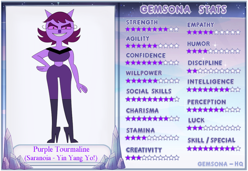 Demon Cat-Gem Hybrid: Saranoia - Purple Toumaline by SwordSparks