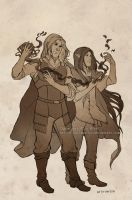 Sketch commission: Taka and Karoon by Luciana-Lu