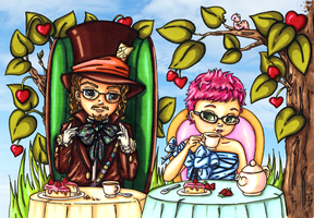 Alice and the Mad hatter by JadeDragonne