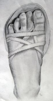 Foot in pencil by indisaurusrex