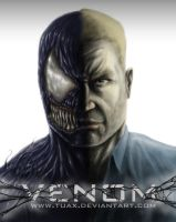 Venom movie poster white by TuaX