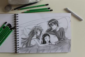 Kirito, Asuna and Yui in Bed~Sword Art Online by VenSaleyah