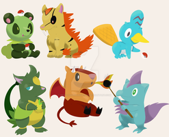 Xenioh and Qiloh Starters by ReallyDarkandWindie