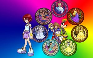 Kairi and StainedGlass Desktop by Akili-Amethyst