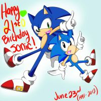 Happy Birthday SONIC .:21st:. by Pyon-Suki