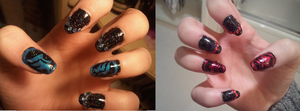 Paragon/Renegade Nails. by KashaKiller