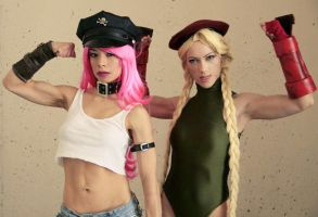Cammy White and Poison from Street Fighter by RuffleButtCosplay