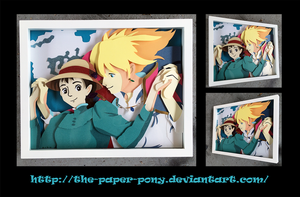 Commission: Howl's Moving Castle Shadowbox by The-Paper-Pony