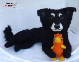 Raven - Needle felted dog sculpture by WoolArtToys