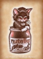 'Kitten in Nutella Jar' by telegrafixs