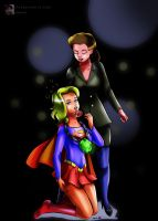 [Commission] Supergirl and Lady Luthor Peril by sleepy-comics
