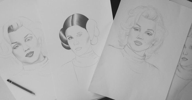 Marilyn and Leia sketches by AndyVRenditions