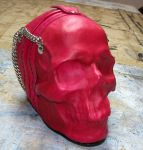 Leather skull purse in pink by GriffinLeather