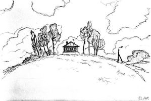 Pencil sketch - on the hill by ErynLuin