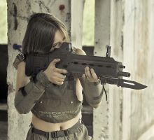 Polina with rifle #4 by ohlopkov