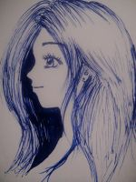 Pen drawing of a girl by MelodicInterval