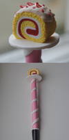 Strawberry scented rollcake clay pen by Jennut