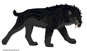 Saber Cat Design for LadyCorvo by KasaraWolf