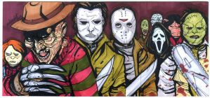 Modern Horror 3 sketch card puzzle by mdavidct