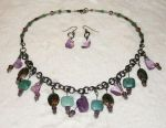 Amethyst, Abalone, New African Jade Necklace by frchblndy