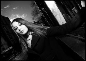 Andie on the street 2BW by DiabloAdvocati