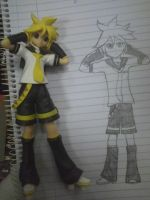 Len figure and drawing by KarenElricKagamine