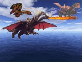 Mothra and Battra vs DesGhidorah by ltdtaylor1970