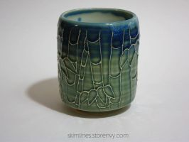 Blue Green Bamboo Forest Tea Cup by skimlines