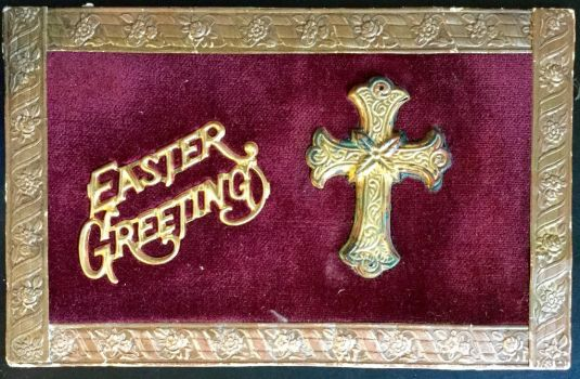 Antique Velvet Pincushion Easter Postcard - 1908 by KarRedRoses