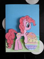 MLP Card - Pinkie Pie with egg. by FunkyBacon