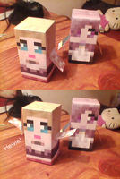 Minecraft Chibis - Fiona and Daniella by Lilacatz