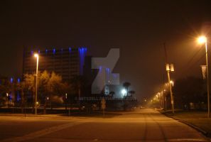 Blue Building in the Fog by Mitszell