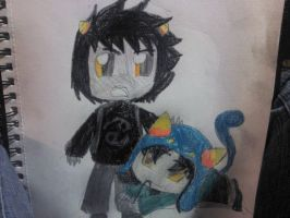 Lil karkat and lil Nepeta by animecat237