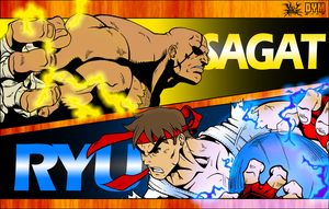 Sagat VS Ryu (Colors) by villithorne