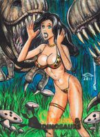 DAMSELS AND DINOSAURS AE SKETCH CARD 5 by AHochrein2010