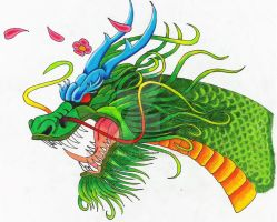 Asian Dragon colored by wolfhogen