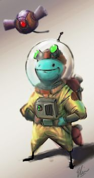 Bob the spaceman and his droid by Elvin86