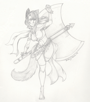 Voodoo and Axe Pencil sketch  small by VoodooRed