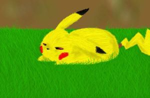 Sleepy Pikachu by SaintsSister47