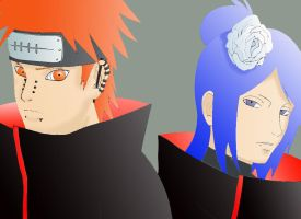Pain and Konan by Zelda-rocks13